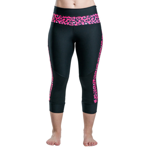 Black Capri Pants With Pink Cheetah Accent