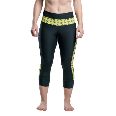 Black Capri Pants With Lime Green 8-Bit Cherry Bombs Accent