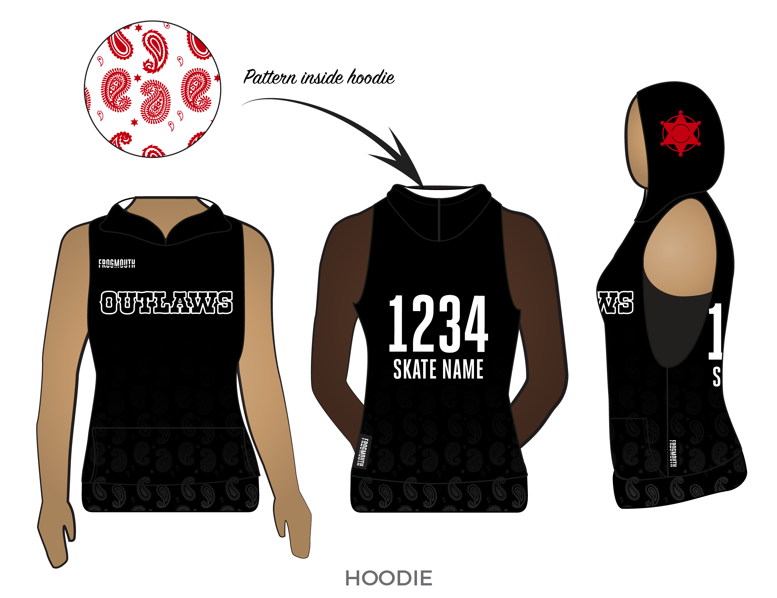 Small Town Roller Derby Outlaws: 2019 Uniform Sleeveless Hoodie - Frogmouth
