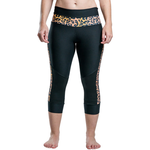 Frogmouth Clothing Roller Derby Pants Capris Leggings Tan Cheetah Roller Derby Pants With Built-In Removable Knee Protection Kneeshields Knee Shields