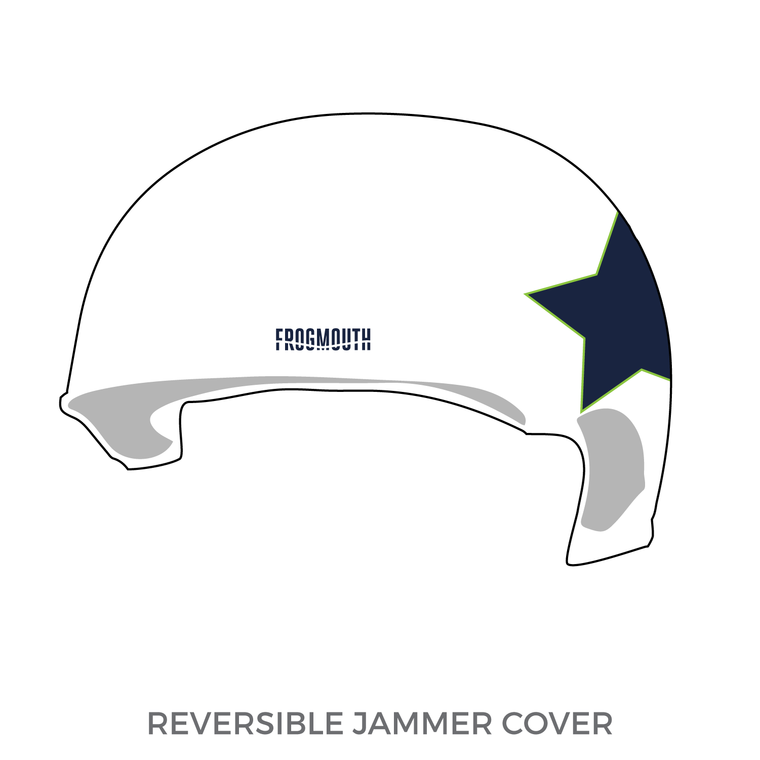 Traverse City Roller Derby: 2019 Jammer Helmet Cover (White) - Frogmouth