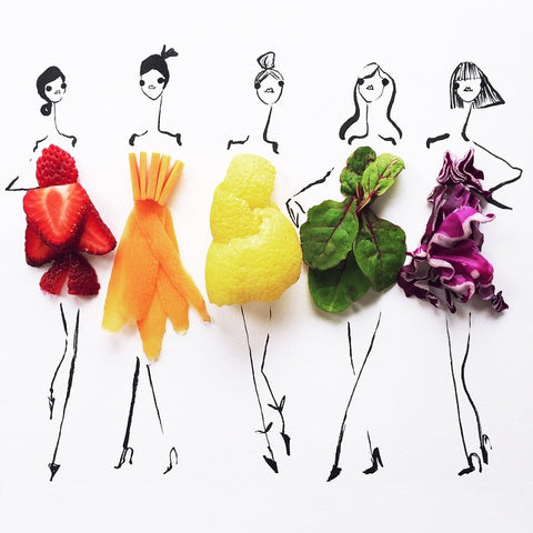 Colourful Food Fashion Illustrations