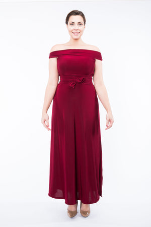 Diane Kroe Ultimate Holiday Dress - Convertible Maxi Dress off shoulder with sash full size
