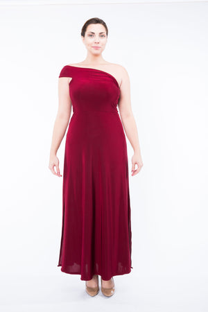 Diane Kroe Ultimate Holiday Dress- Convertible Maxi Dress  one shoulder full size