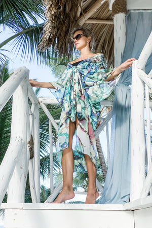 Mariposa Kaftan in Lime Bubble Print worn Front Bow Style