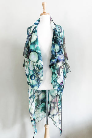 Mariposa Kaftan in Lime Bubble Print worn waterfall jacket style