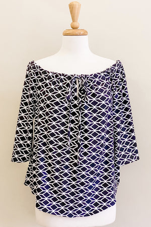 Harlequin Print Evermore Top worn scoop neck