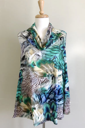Diane Kroe Snow Bird Print Wear-Ever Dress worn poncho style