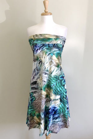 Diane Kroe Snow Bird Print Wear-Ever Dress worn strapless dress style