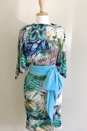 Diane Kroe Snow Bird Print Wear-Ever Dress worn sleeve dress style with Turquoise Sash belt