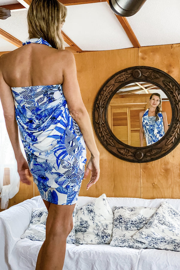 Origami Travel Dress | Blue China
