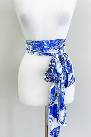 Scalloped Sash Belt | Blue China