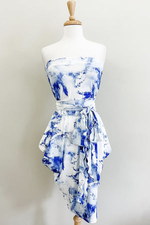 Origami Travel Dress | Blue Marble