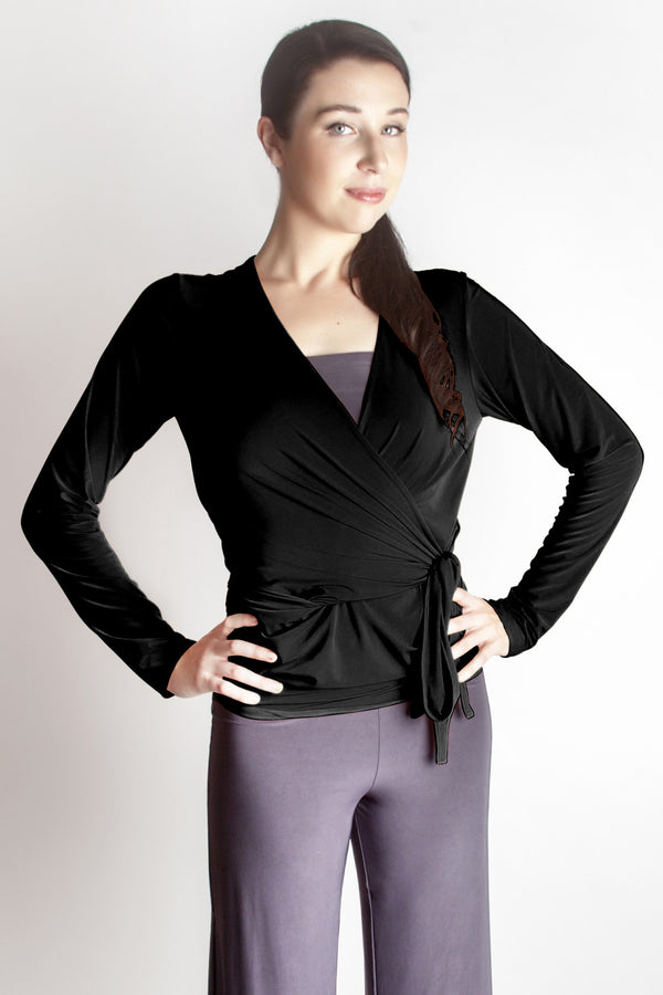 Diane Kroe Wrap top - Travel Cardigan black