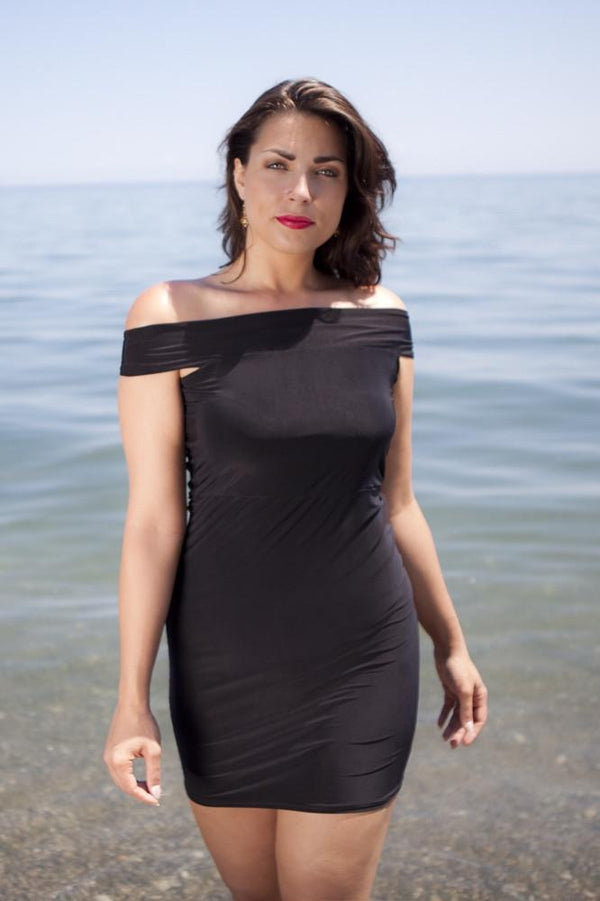 Wear the Diane Kroe Travel Tube - Multiway Dress as an off shoulder dress
