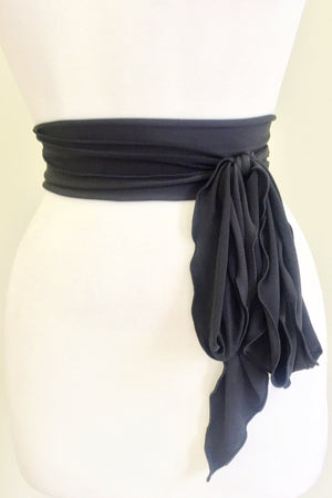 Soft Belt and Scalloped Sash in Black
