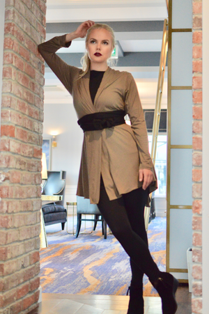 Diane Kroe Layer Jacket worn with a sleeve sash