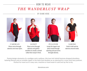 Diane Kroe wanderlust wrap Travel Cardigan style guide ways to wear