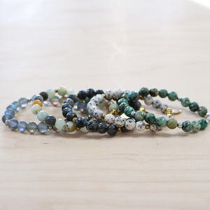 The Daria  -  Stack of five semi- precious bracelets
