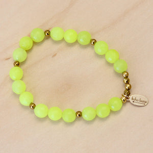 The Dani -Lime Yellow Jade Bracelet