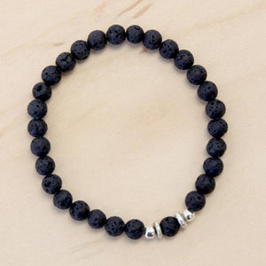 The Blake- Semi-precious Black Lava Bracelet