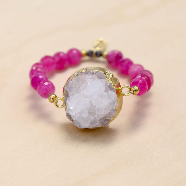 The Ella - Semi-precious Hot Pink Jade and Gold Plated Druzy Bracelet