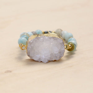 The Becca - Semi-precious and Gold Plated Druzy Bracelet