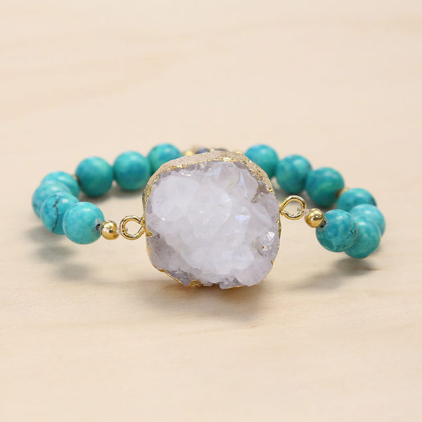 The Brittany - Semi-precious and Gold Plated Druzy Bracelet