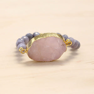 The Alexa - Semi-precious and Gold Plated Druzy Bracelet