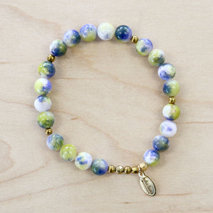 The Krysten - Green Marble Jade Bracelet