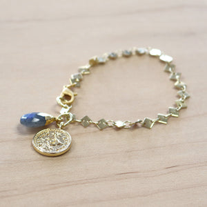 The Genevieve - Gold Coin + Labradorite Bracelet