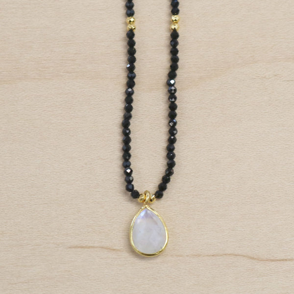 The Tessa - Black Onyx & Moonstone Choker Necklace