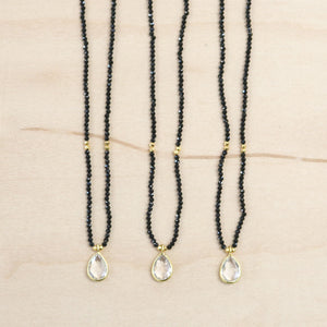 The Tessa - Black Onyx & Quartz Choker Necklace