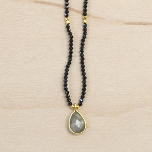 The Tessa - Black Onyx & Labradorite Choker Necklace