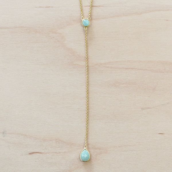 The Kayla - Gold & Chalcedony Choker Necklace