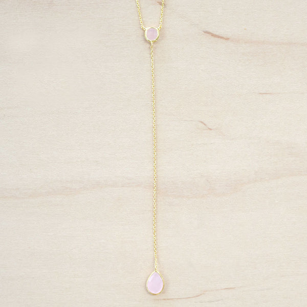 The Kayla - Gold & Rose Quartz Choker Necklace