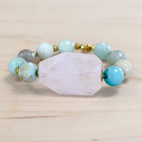 The Rosie - Amazonite + Rose Quartz Bracelet