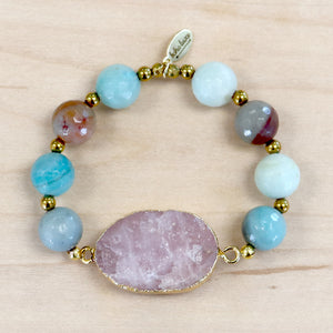 The Amy - Amazonite + Gold Plated Druzy Quartz