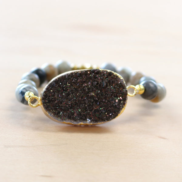 The Cameron - Semi-precious and Gold Plated Druzy Bracelet