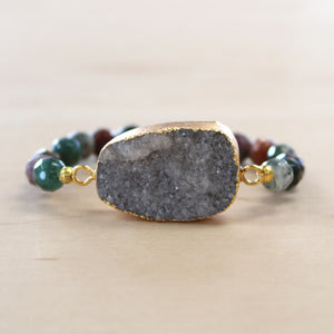 The Kathy - Semi-precious and Gold Plated Druzy Bracelet