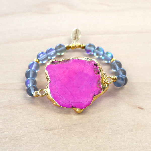 The Laur - Semi-precious and Gold Plated Pink Howlite Bracelet