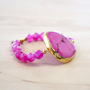The Rose - Pink Howlite Stretch Bracelet