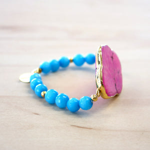 The Brooklyn - Pink Howlite Stretch Bracelet