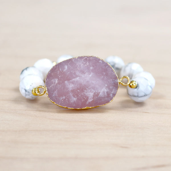 The Elodie- White Howlite & Pink Quartz Bracelet