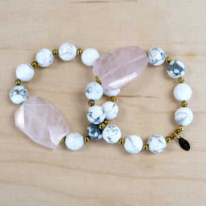 The Jean - Pink Quartz + Howlite Bracelet