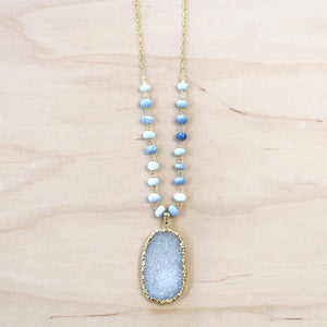 The Victoria - Semi-Precious Chain with Druzy Quartz