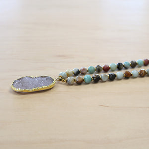 The Holly -   Druzy Quarts with Leather Necklace
