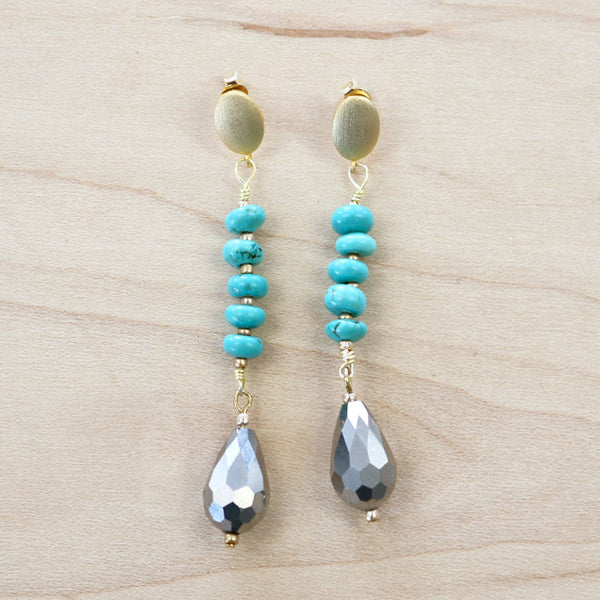 The Cara - Turquoise & Hematite Earrings