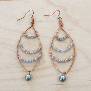 The Courtney - Labradorite & Tahitian Pearl Earrings