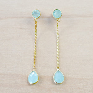 The Mischa - Chalcedony Drop Earrings